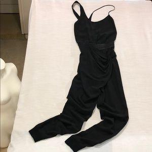 🏆Aritzia Wilfred Black Silk Jumpsuit Twist Front